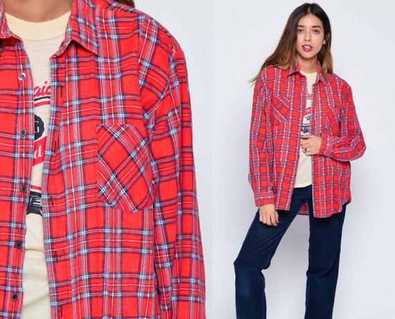 Red flannel shirt 90s blue plaid grunge lumberjack navy long for Navy blue and red flannel shirt