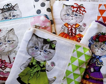 Kitten cats cards and coins little purse