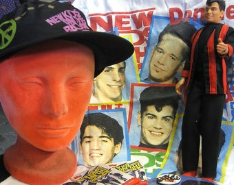 New Price on New Kids On The Block VTG Lot Bonanza T Shirt Hat Pin Back Buttons Jordan Doll Giant Joey Button Magnet Photo Cards n Stickers