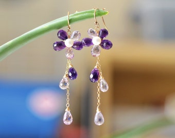 Amethyst Gold Earrings - 14k Gold Filled Wire Wrapped - Two Tone Shaded Amethyst - Freshwater Pearl - Gemstone