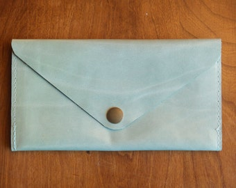 Leather Wallet - Envelope Style - The Lupe - in Pale Robins Egg Blue - Ready to Ship