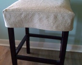 Square Bar Stool Slipcover Tan Topstitched Barstool Cover Washable