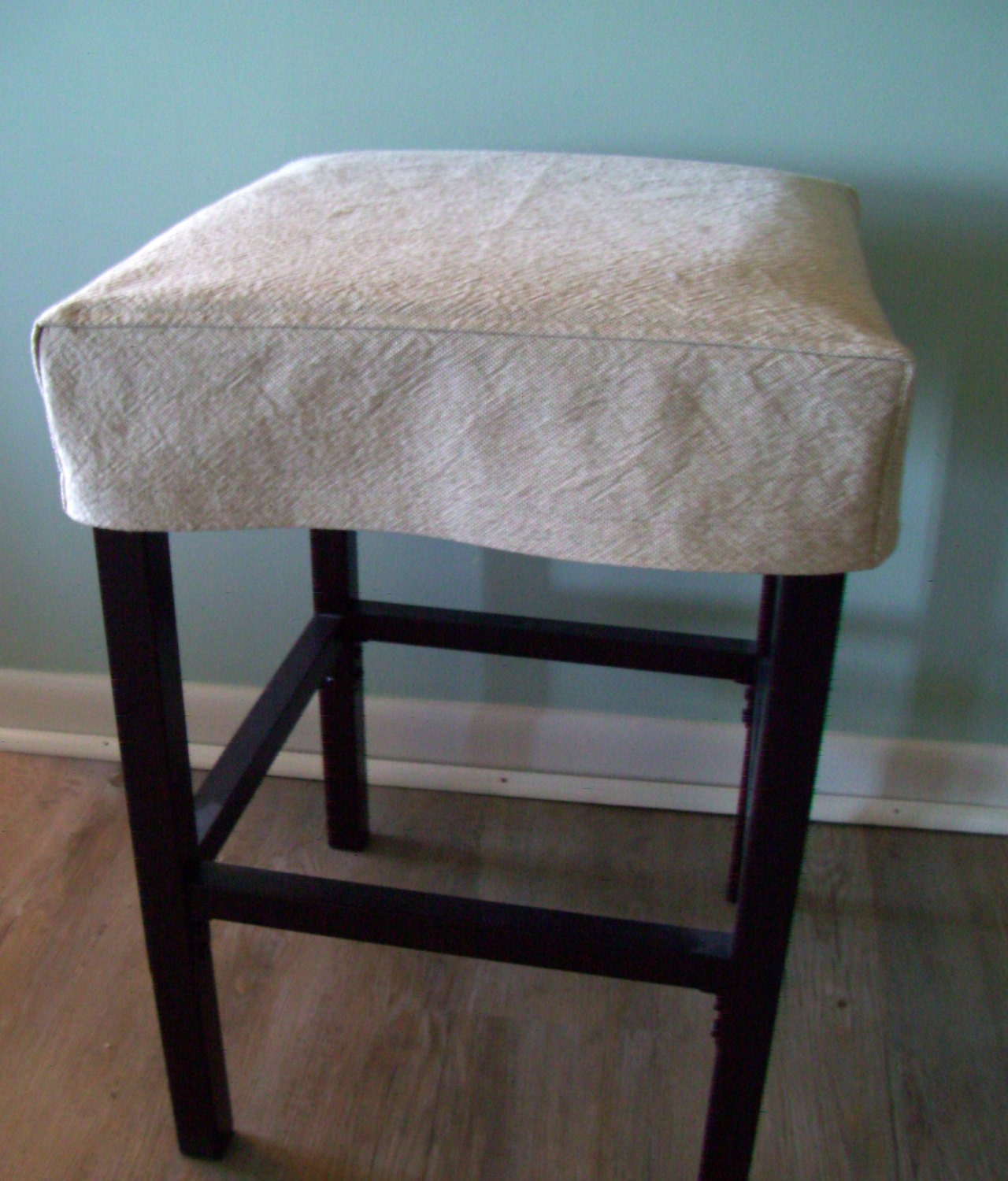 Square Bar Stool Slipcover Tan Topstitched Barstool Cover