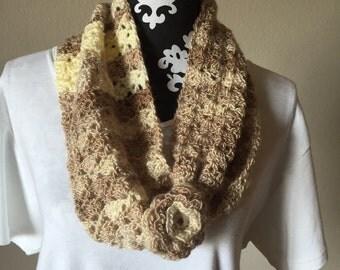 Ready to Ship Ladies Brown Flower Button Cowl Fashion Scarf Handmade
