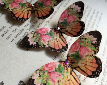 Monarch Rose Silk Butterfly Hair Clip with Swarovski Crystals Prom/Wedding/Cos Play