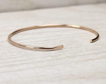 14K Solid Rose Gold Smooth Cuff Bracelet, Simple Gold Stacking Bracelets