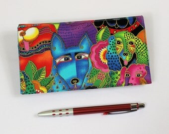 Dogs Checkbook Cover, Duplicate Checks, Pen Holder, Laurel Burch Bright Dogs Cotton Fabric, Cheque Book Cover