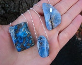 Boulder Opal Specimen Simple Silver Chain Necklaces (Choose One)