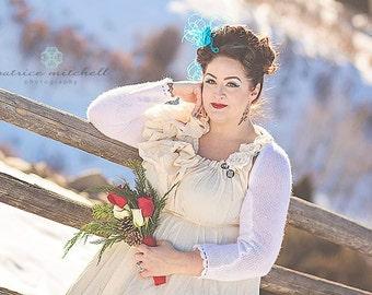 Winter Wedding Dress Colorado Christmas Gown Ruffles Bows Romantic Victorian Maxi Bridal Patisserie Ball Custom by Savoyfaire