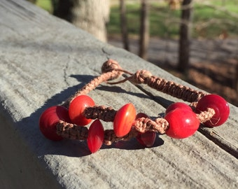 Hemp woven simple bracelet, simple knot, hemp, hemp bracelet, red beads, layered hemp bracelet
