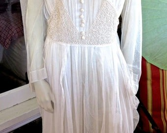 1915 Edwardian White Soutache Braid Detail Net Layered Dress Side Panels 40 Bust