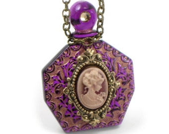 Strange Brew - Gothic Lolita Necklace with Vintage Two Toned Etched Acrylic Perfume Bottle and Rose Gold Cameo