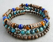 Mens Memory Wire Bracelet, Lapis Lazuli, Tiger Eye, Blue and Brown Jasper, Antiqued Copper, Wrap Around, Gemstone Jewelry for Men, Guys, Him
