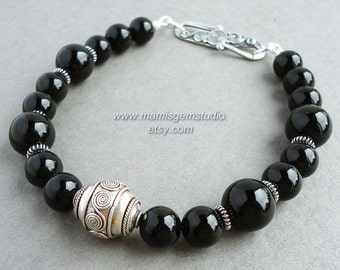 Mens Black Onyx Bracelet with Bali Sterling Silver, Gemstone Beaded Jewelry for Men, Guys, Dad, Him, Handcrafted