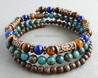 Mens Memory Wire Bracelet, Lapis Lazuli, Tiger Eye, Blue and Brown Jasper, Antiqued Copper, Wrap Around, Gemstone Jewelry for Men, Guys, Him