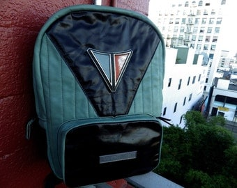 Leather Backpack Handmade With Vintage Auto Dashboard Chrome Emblems