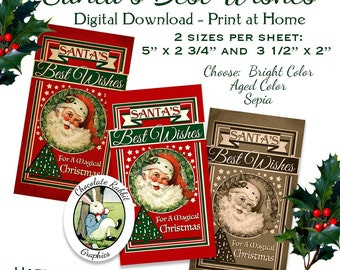 Vintage Christmas Santa Label Tags Digital Download Printable Clip Art Fabric Transfer Gift Card Scrapbook Graphic Image Collage Sheet