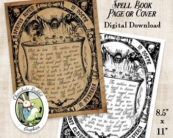 Spell Book Cover Page Witch Halloween Digital Download Vintage Style Printable Image DIY Clip Art Scrapbook Collage Sheet Graphic Print
