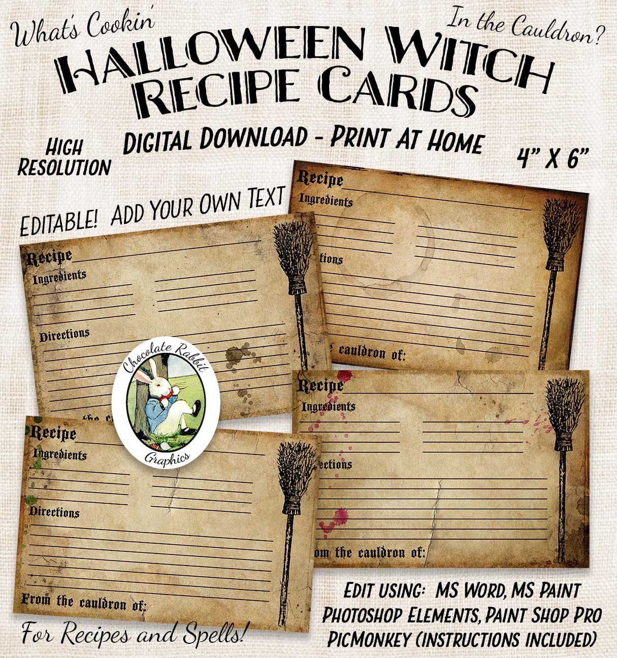 witch halloween recipe cards blank editable digital download