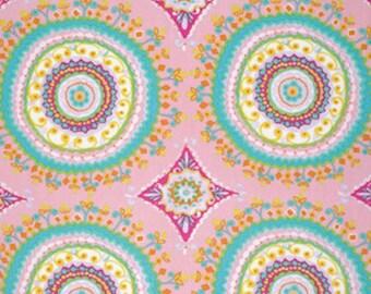Free Spirit Dena Designs  PWDF208 HAUTE GIRLS-LARGE Circles-Pink 1 Yard Cut