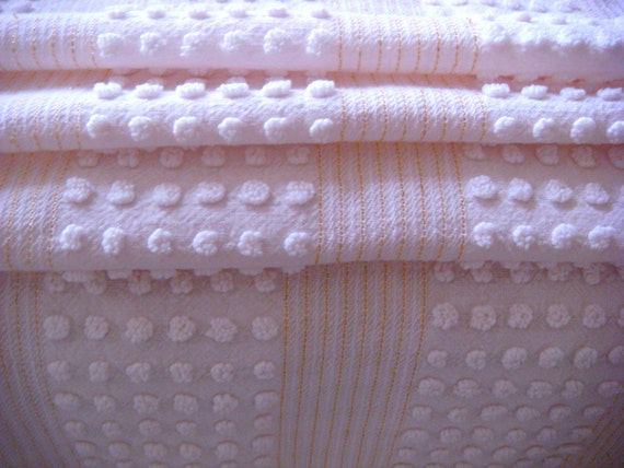 Morgan Jones Blush Pink Pops with Gold Lurex Vintage Chenille Fabric 12 x 24 Inches