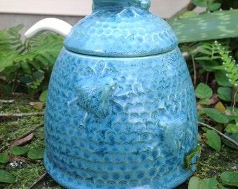 Honey pot, Aqua, frosted, honey bee, bee hive, bee skeep, dining, serving, kitchen