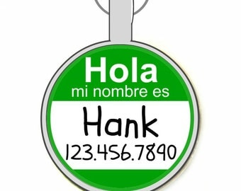 "The Original Hola ""Hello My Name Is"" Personalized Dog ID Pet Tag Custom Pet Tag You Choose Tag Size & Colors -As Seen In Modern Do"