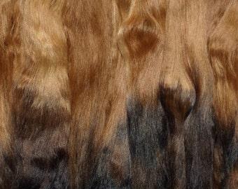 Combed Suri Alpaca Doll Hair 10-12 inches long 2 ounces Medium Brown Dark Brown Black Ombre