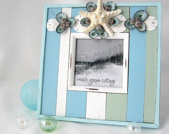 Beach Decor Seashell Picture Frame - Nautical Beach House Decor Shell Photo Frame - Coastal Decor #BGSTF