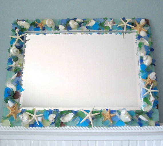 Beach House Decor Sea Glass Mirror, Nautical Decor Seashell Mirror, Beach Glass Mirror, Custom Shell Mirror, Coastal Home Decor #CM2127SG