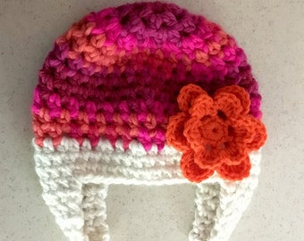 Bright PINK Newborn, Child, Girl, Baby Hat, Flower BEANIE, Ear Flaps, Soft, Warm, Baby Gifts, Gifts for Girls, Prop JE455BEF2