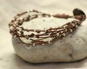 SILVERLEAF : artisan beaded wrap bracelet