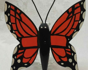 Beautiful Wooden hand cut, and hand painted Butterfly on front and back