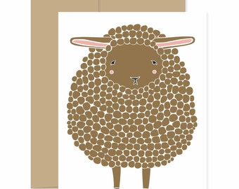 Brown Sheep Card, Sheep Greeting Card, Baby Shower Card, Brown Lamb Card, Baby Card, Congratulations Card, Easter Card, Sheep Greeting Card