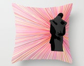 Romantic Love Passion Throw Pillow Cover Case Bedroom Decor Valentine Gift Couple Silhouette Embrace Colorful Couch Living Room Home Decor