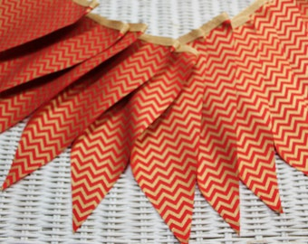 Free USA Shipping/Gold and Red Fabric Banner/Christmas Banner/Chevron Banner/Wedding Banner/Fabric Banner/Photo Prop/Birthday Party Garland