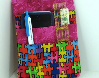 Nurse scrubs pocket organizer, purse organizer, lab coat pocket organizer - Autism Puzzle Fabric - Ready to Ship