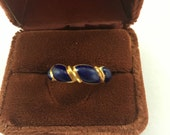 Reserved do not buy Vintage 18KT Gold Blue Enamel Band Ring