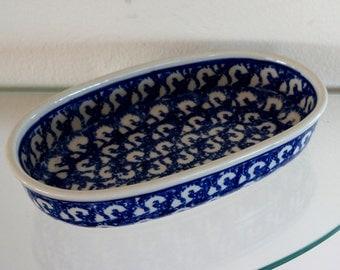 Vintage Polish Pottery Oval Oblong Serving Dish Boleslawiec Sponge Blue and White
