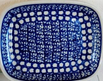 Vintage Polish Pottery Boleslawiec Serving Tray Vesta Rectangle Blue Sponge Dotted Band