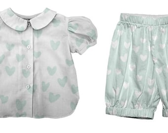 vivi bebe French Mint Hearts Bloomer and Blouse set