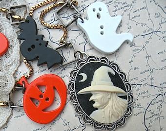 halloween witch necklace assemblage ghost bat pumpkin