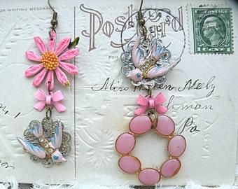pink daisy assemblage earrings bird mismatch flower summer