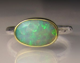 Opal Ring, Rose Cut Ethiopian Opal Ring, 18k Yellow Gold and Sterling Silver