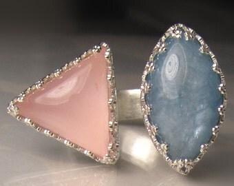 30% OFF SALE - Aquamarine and Rose Quartz Ring, Open Face Cocktail Ring, Aquamarine Double Stone Ring, Rose Quartz Ring, Sz 7.75 - 8