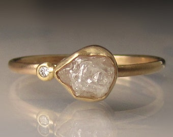 Raw Diamond Engagement Ring, Rough Diamond Ring in 14k Yellow Gold, White Uncut Diamond Ring