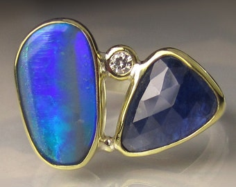 Opal Ring, Opal and Blue Sapphire Ring, Boulder Opal Ring, 18k Yellow Gold and Sterling Silver Australian Opal Ring