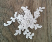 Bridal Hair Comb White Beaded Lace
