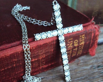 Vintage Style Cross Pendant Long Necklace Clear Glass Rhinestones Antique Silver Large Pendant Religious Relic