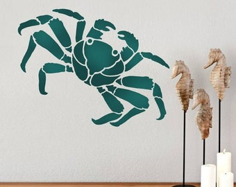 Crab Wall Art Stencil - Quick and Affordable Wall Stencil for DIY Wall Art - Reusable Stencil for Beach Decor